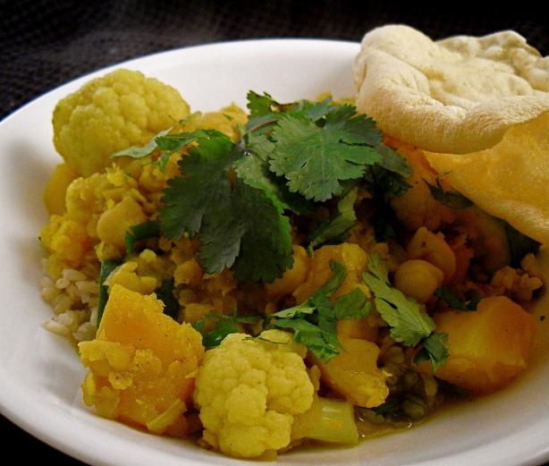 Lentil, Chickpea, Vegetable Curry. Photo by PaulaG