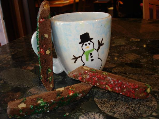 Christmas Low Fat White-Chocolate Walnut Brownie Biscotti. Photo by Keeferop