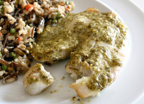 Simple and Quick Tilapia Pesto. Photo by Cookin-jo