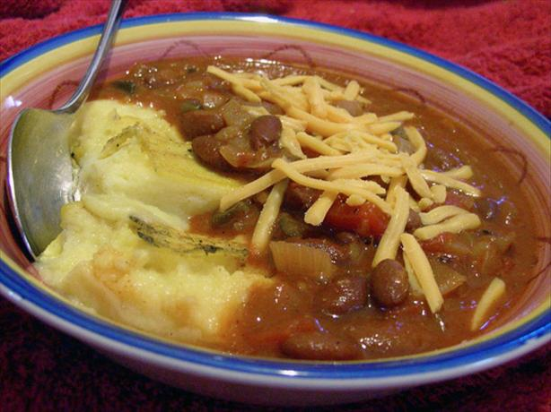 Mexican-Style Chili With Polenta Squares. Photo by justcallmetoni