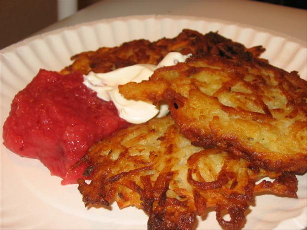 Potato Latkes (Jewish Potato Pancakes) - Gluten-Free. Photo by What's Cooking?