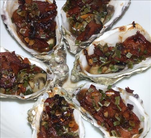 Oysters With Pine Nuts and Bacon. Photo by Peter J