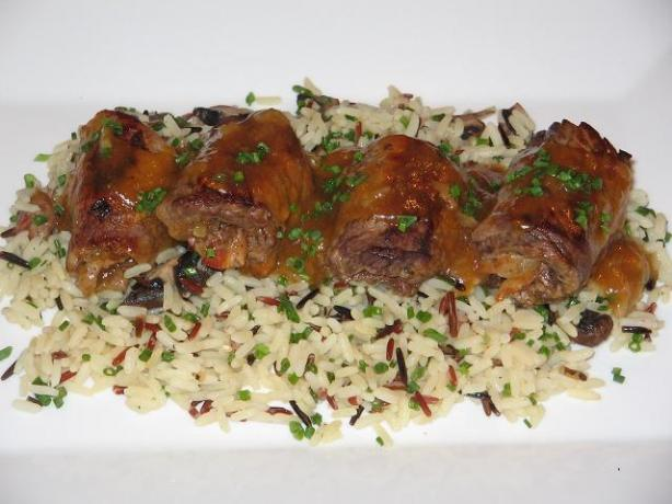 Apricot Veal Rolls on Mushroom Rice. Photo by The Flying Chef