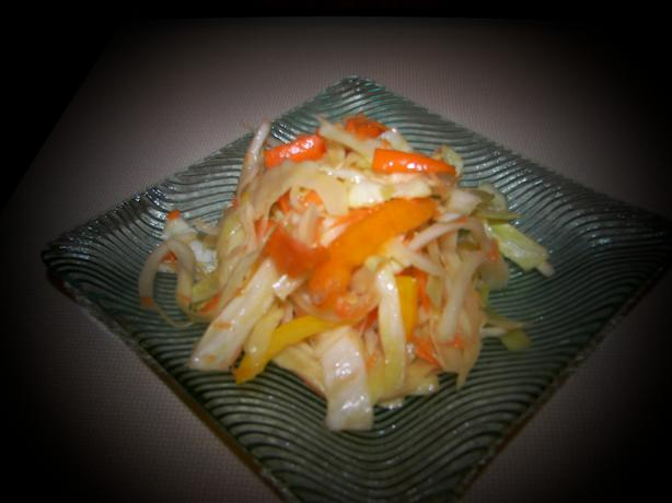 Southern Cabbage Salad With Sweet Onion and Peppers. Photo by Baby Kato