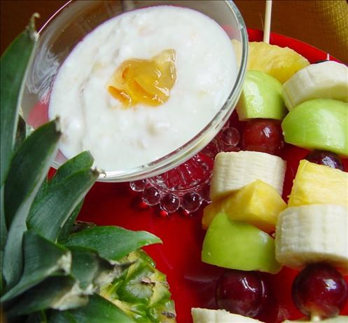 Fruit Kabobs With Coconut Dressing. Photo by jonesies