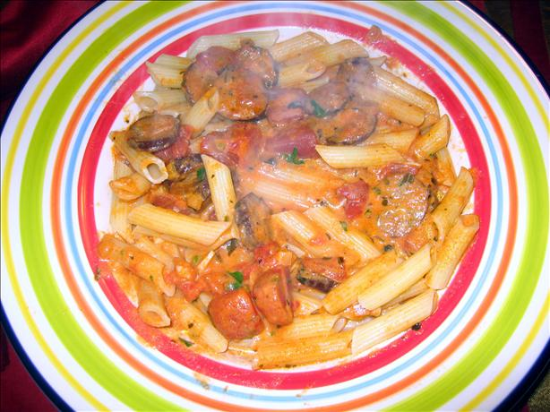 Spicy Vodka Cream Pasta With Hot Sausage. Photo by Super San Mateo Chefs