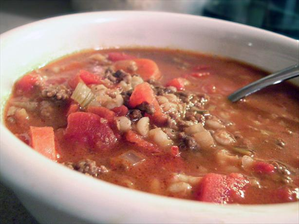Beef and Barley Vegetable Soup. Photo by justcallmetoni