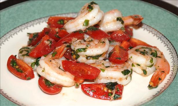 Garlic Shrimp With Basil & Tomatoes. Photo by ~TigerJo~