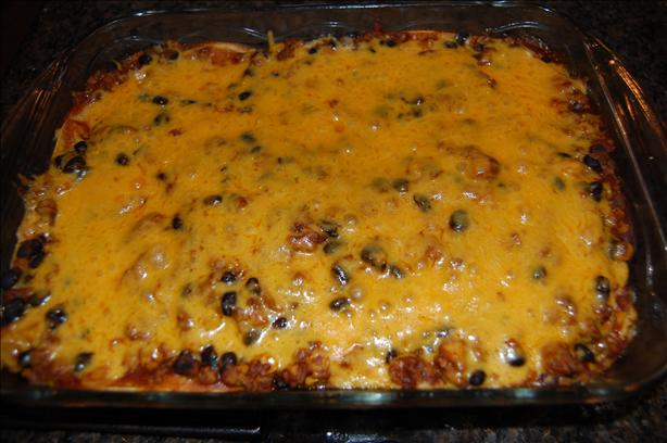 Mexican Ground Beef Tortilla Layer Casserole. Photo by Juenessa