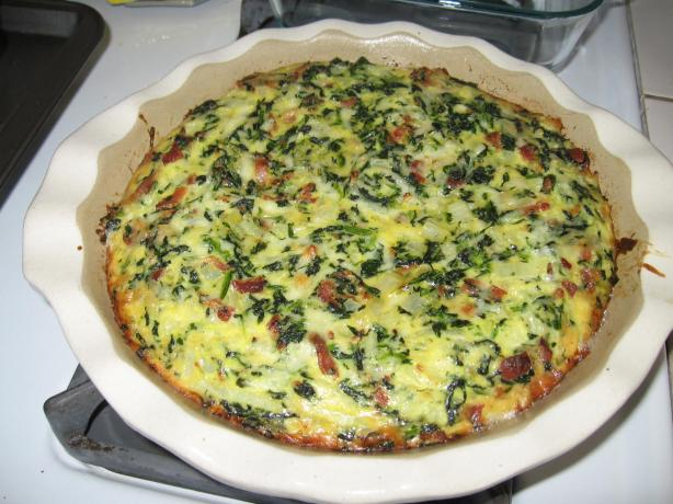 Crustless Bacon, Spinach & Swiss Quiche - Low Carb. Photo by Queen uh Cuisine