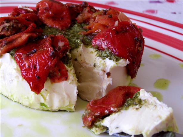 Brie Topped With Pesto and Sun-Dried Tomatoes. Photo by Rita~