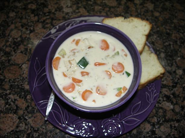 Easy and Creamy Turkey-Vegetable Soup. Photo by Juenessa