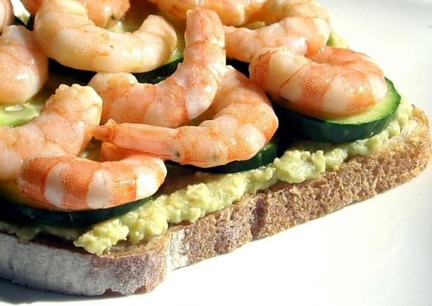 Avocado Butter With Baby Shrimp Sandwiches. Photo by AmandaInOz