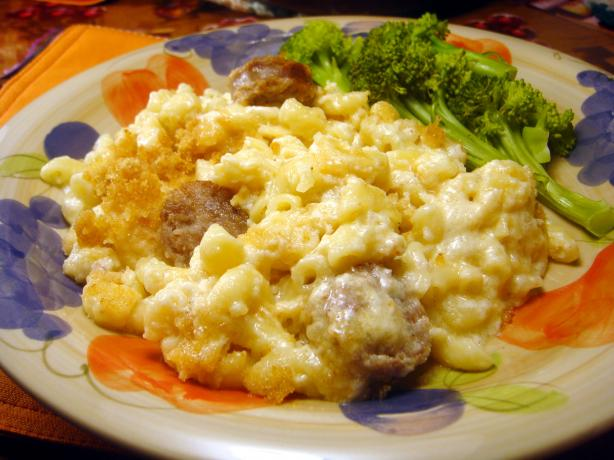 Half-Time Sausage Mac and Cheese. Photo by Lori Mama