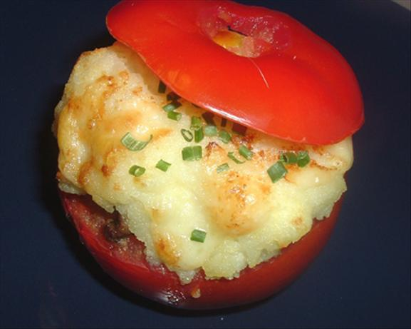Baked Stuffed Tomatoes Topped With Mashed Potato. Photo by Bergy