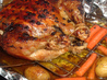Roast Capon With Chili-Cilantro Rub and Roasted Carrots. Recipe by Oolala
