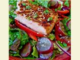 Seared Salmon With Grapes on a Bed of Greens