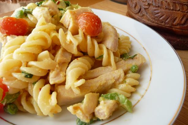 Chicken Pasta Salad in Creamy Curry Dressing. Photo by Tea Jenny