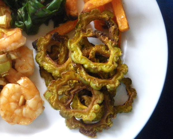 No-Fry Karela Crispies (Bitter Melon). Photo by Bergy