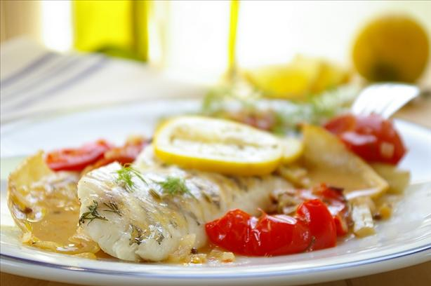French Style Roasted Perch With Fennel, Tomatoes and Wine. Photo by Thorsten