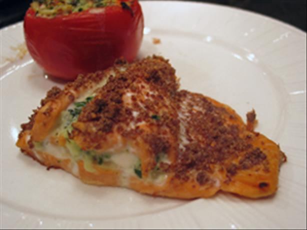 Salmon Stuffed W/Spinach Onion & Cheese. Photo by kelly in TO
