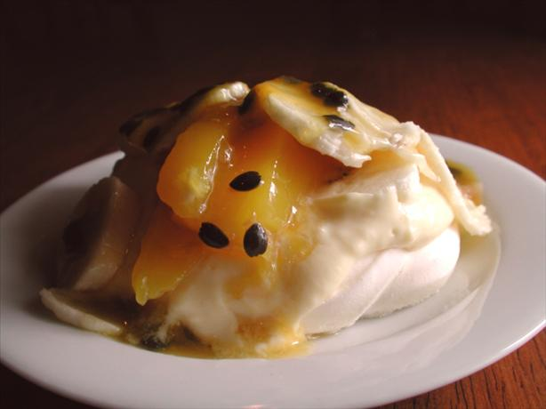 Pavlovas With Lemon Curd and Tropical Fruit. Photo by Chef floWer