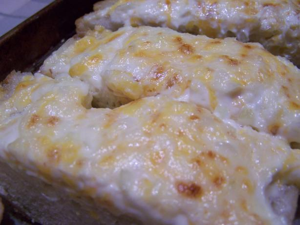 Garlic Bread with Mayo & Cheddar. Photo by QueenJellyBean
