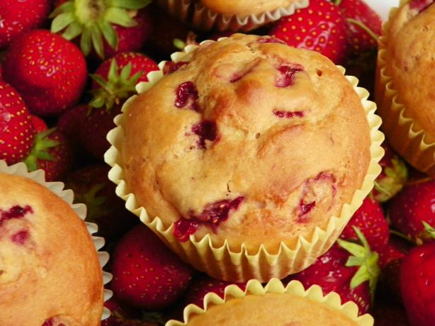 Delicious Low-Fat Strawberry Banana Muffins. Photo by Colettski