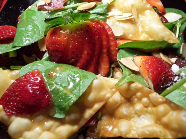 "Strawberry Spinach Won Ton Salad. Photo by ""Ratalouille"""
