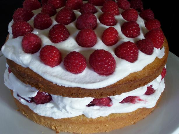 Classic Sponge Cake With Raspberries and Cream Filling. Photo by DbKnadler