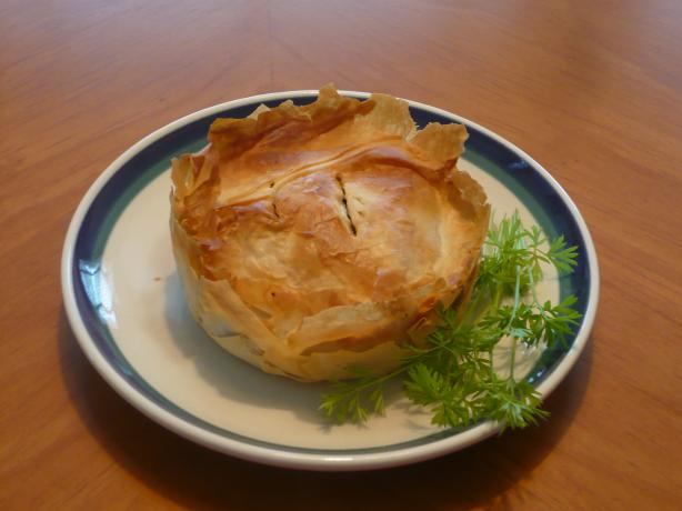 Kreatopita (Greek Meat Pie Using Phyllo Pastry). Photo by katii