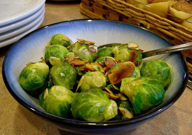 Microwaved Brussels Sprouts With Almonds. Photo by PaulaG