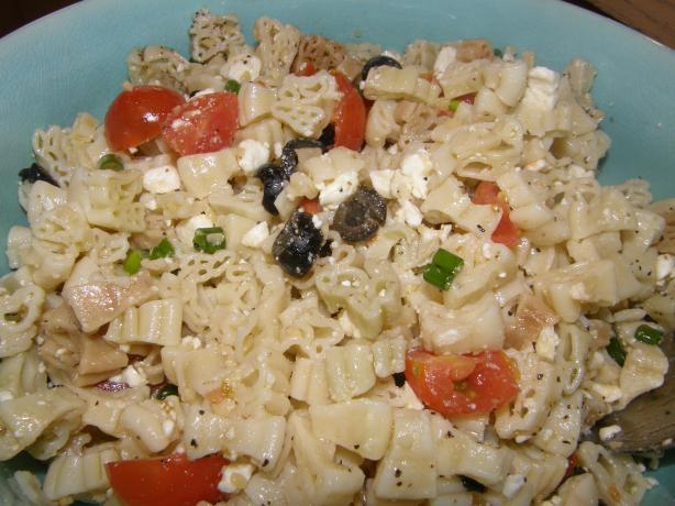 "Fun ""Greek style"" pasta salad. Photo by mydesigirl"