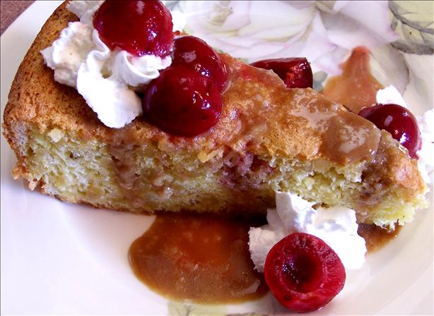 Pine Nut Cake With Poached Cherries and Caramel Sauce. Photo by Rita~