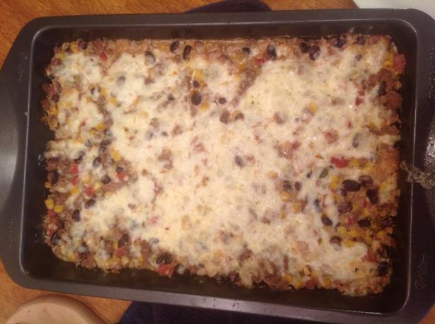 Mexican Layered Beef and Bean Casserole. Photo by Posiespocketbook