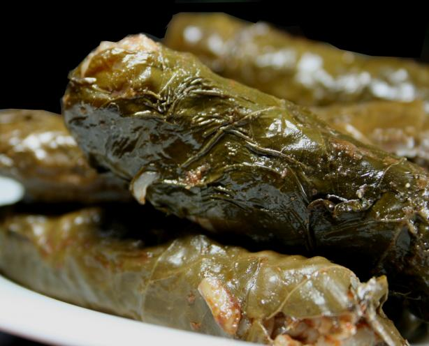 Mum's Dolmathes (Stuffed Grape Leaves). Photo by Chef floWer