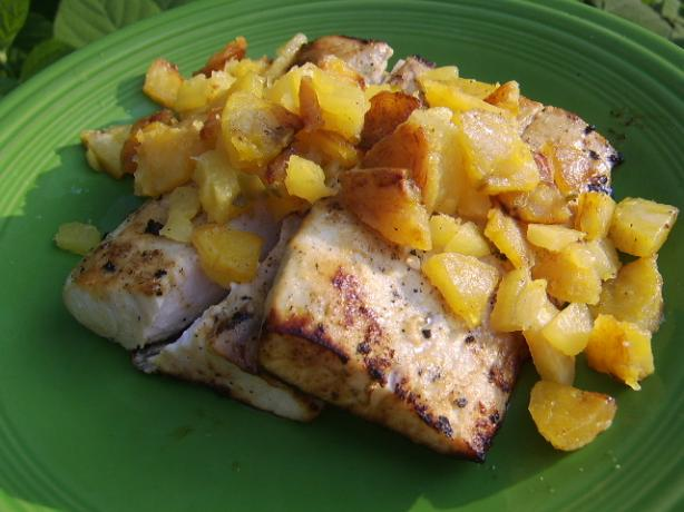 Grilled Swordfish With Pineapple-Plantain Chutney. Photo by LifeIsGood