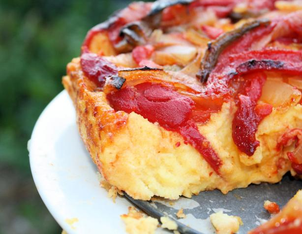 Caramelized Vegetable and Polenta Cake. Photo by **Jubes**