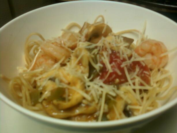 Linguine With Garlic Shrimp. Photo by pinkocommie