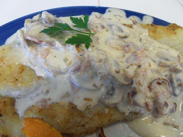 Pan-Fried Fish With Bacon-Mushroom Sauce. Photo by AZPARZYCH