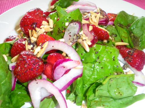 spinach strawberry salad. Photo by Bergy
