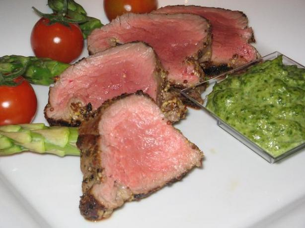 Fillet of Beef with Salsa Verde. Photo by The Flying Chef