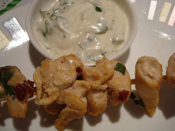 Chipotle Chicken Skewers With Creamy Cilantro Dipping Sauce. Photo by Starrynews