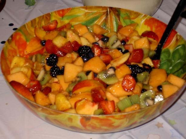 Fruit Salad With Honey Ginger Lime Dressing. Photo by Weiner's Mom