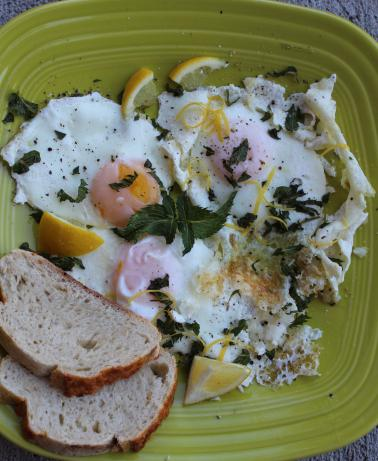 Fried Eggs With Garlic, Lemon and Mint. Photo by Cookgirl