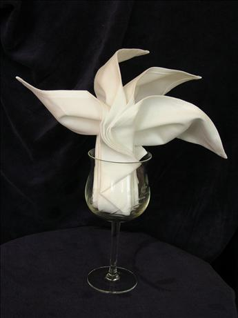 Serviette/Napkin Folding, Sydney Opera Fan in Wine Glass. Photo by kiwidutch