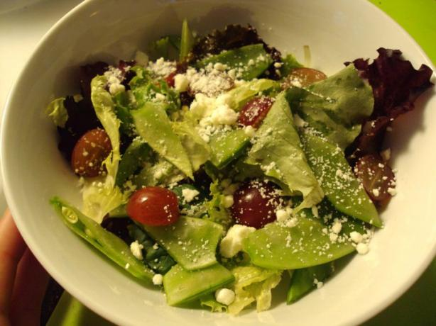 Field Salad With Snow Peas, Grapes, and Feta. Photo by dicentra