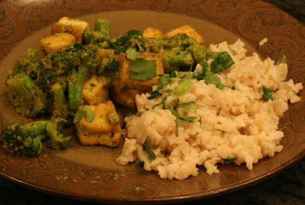 Thai Tofu W/Red Curry Sauce over Coconut Scallion Rice. Photo by Chandra M
