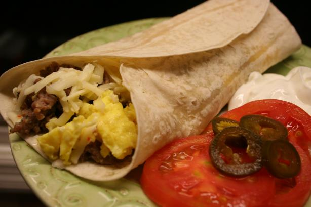 Egg & Sausage Breakfast Burrito. Photo by Kitchen Witch Steph