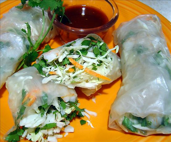 Shrimp Spring Rolls With Hoisin Dipping Sauce. Photo by :(